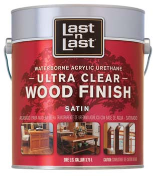 ABSOLUTE COATINGS 13101 LAST N LAST ULTRA CLEAR WATERBORNE WOOD FINISH SATIN SIZE:1 GALLON.