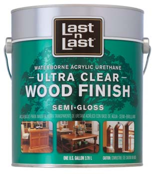 ABSOLUTE COATINGS 14001 LAST N LAST ULTRA CLEAR WATERBORNE WOOD FINISH SEMI GLOSS SIZE:1 GALLON.