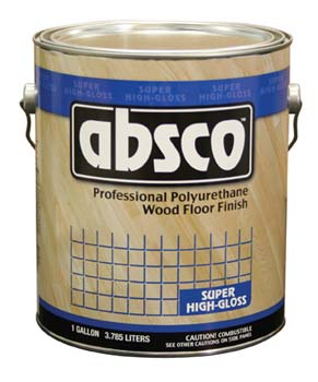 ABSOLUTE COATINGS 89001 ABSCO POLYURETHANE WOOD FLOOR FINISH GLOSS 450  VOC SIZE:1 GALLON.