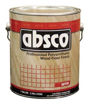 ABSOLUTE COATINGS 89101 ABSCO POLYURETHANE WOOD FLOOR FINISH SATIN 450  VOC SIZE:1 GALLON.