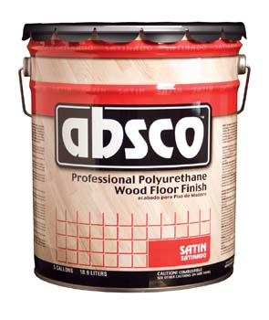 ABSOLUTE COATINGS 89105 ABSCO POLYURETHANE WOOD FLOOR FINISH SATIN 450  VOC SIZE:5 GALLONS.