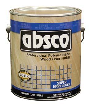 ABSOLUTE COATINGS 89501 ABSCO POLYURETHANE WOOD FLOOR FINISH GLOSS 350  VOC SIZE:1 GALLON.