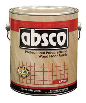ABSOLUTE COATINGS 89511 ABSCO POLYURETHANE WOOD FLOOR FINISH SATIN 350  VOC SIZE:1 GALLON.