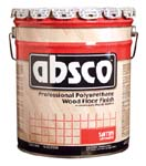 ABSOLUTE COATINGS 89515 ABSCO POLYURETHANE WOOD FLOOR FINISH SATIN 350  VOC SIZE:5 GALLONS.