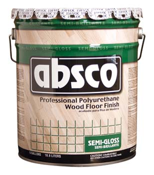 ABSOLUTE COATINGS 89525 ABSCO POLYURETHANE WOOD FLOOR FINISH SEMI GLOSS 350  VOC SIZE:5 GALLONS.