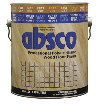 ABSOLUTE COATINGS 89601 ABSCO POLYURETHANE FAST DRY WOOD FLOOR FINISH GLOSS 550 VOC SIZE:1 GALLON.