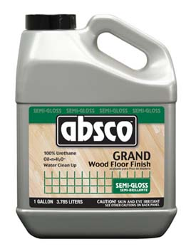 ABSOLUTE COATINGS 95201 ABSCO GRAND WOOD FLOOR FINISH SEMI GLOSS 275 VOC SIZE:1 GALLON.
