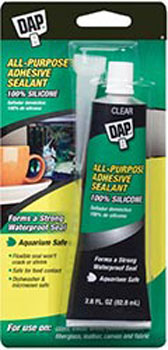 DAP 00688 ALL PURPOSE 100% SILICONE ADHESIVE SEALANT CLEAR SIZE:2.8 OZ PACK:12 PCS.