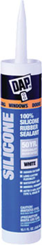 DAP 08646 WINDOW & DOOR 100% SILICONE RUBBER SEALANT WHITE SIZE:10.1 OZ PACK:12 PCS.