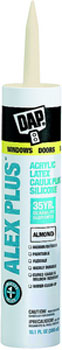 DAP 18130 ALEX PLUS ACRYLIC LATEX CAULK PLUS SILICONE ALMOND SIZE:10.1 OZ PACK:12 PCS.