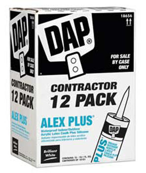 DAP 18656 ALEX PLUS ACRYLIC LATEX CAULK PLUS SILICONE WHITE CONTRACTOR PACK SIZE:10.1 PACK:12 PCS.