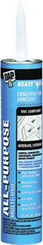 DAP 27450 BEATS THE NAIL VOC COMPLIANT ALL PURPOSE ALL-PURPOSE CONSTRUCTION ADHESIVE WHITE SIZE:10.3 OZ PACK:12 PCS.