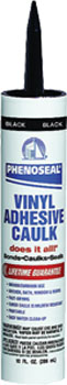 DAP 06102 PHENOSEAL DOES IT ALL VINYL ADHESIVE CAULK BLACK SIZE:10 OZ PACK:12 PCS.